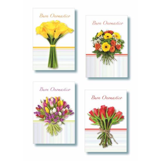 Biglietto ONOMASTICO fiori photo essential 12pz