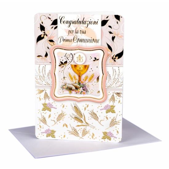 Biglietto COMUNIONE oro portasoldi 16pz