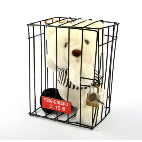 Pelouche ORSACCHIOTTO coccoloso in gabbia