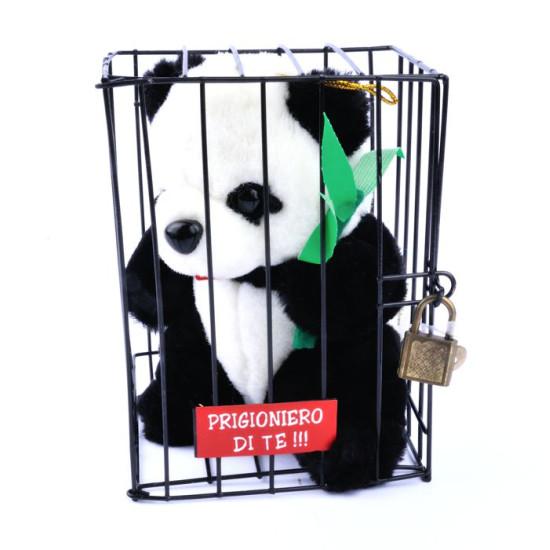 Pelouche PANDA coccoloso in gabbia