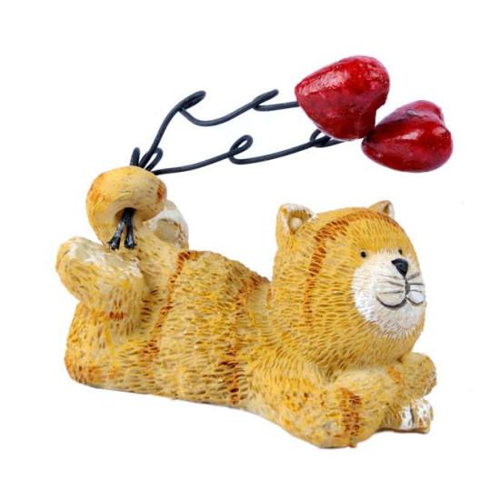 Statuina Micio beige con cuore 12pz